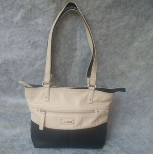 Stone & Co Ivory and Black Leather Colorblock Tote